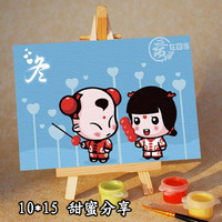 2PCS/LOT Diy digital oil painting sweet 10X15CM 15 child painting FREE SHIPPING