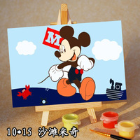 Digital oil painting diy decorative painting MICKEY 10 15 wood easel FREE SHIPPING
