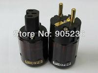 New Gold Plated C-079 IEC + P-079e EU Schuko connector plug (Dark Red) hifi for diy power cable
