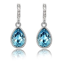 Quality Women's Water Drop Style 18K White Gold Plated & Sea Blue Crystal Drop Earrings Made With Swarovski Elements (6383)