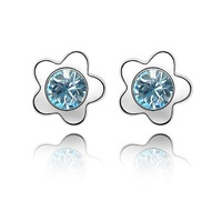 Free Shipping! Women's Plum Blossom Style 18K White Gold Plated & Sea Blue Crystal Earrings Made With Swarovski Elements (2298)