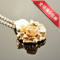 FREE SHIPPING Y229 accessories rose gold sweet pendant gentlewomen elegant pearl flower necklace Discounting