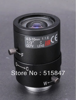 "cctv camera lens 4-10mm Manual iris lens 1/2"" C F1.6 2.0 Mega pixels 4-10mm lens for Security Camera Free shipping"