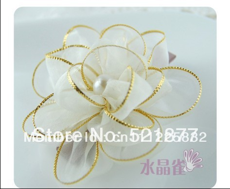 retail White beautiful flowers princess ribbon flowers small hairpin hair accessories bridal hair clips rhinestones pearl(China (Mainland))