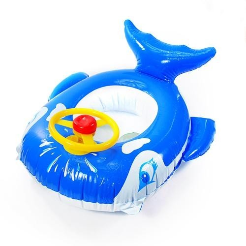 Small whale belt steering wheel inflatable baby swim boat baby swim ring wooden seat baby boat f145(China (Mainland))