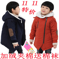 Children's clothing 2012 winter female child male child thickening wadded jacket cotton-padded jacket patch oblique zipper kids