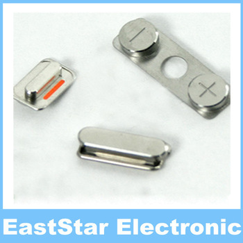 50pcs/lot, 3 in 1 Volume Key Mute Silent Power Button Set Side Buttons for iPhone 4 4G