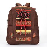 Freeshipping National trend handmade beads women's canvas backpack casual women's handbag girlsstudent backpack