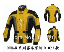 DUHAN Men's Motor Oxford Jacket Motorcycle Jacket Racing Jacket Motocross jacket, long jacket with 5pieces protector Yellow(China (Mainland))