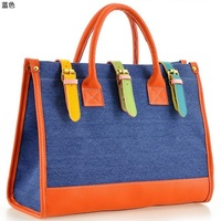 2012 autumn new arrival vintage color block canvas woman's handbag one shoulder cross-body bag