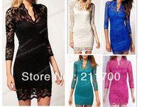 Женское платье New Women's Fashion Lace Dress Slim Flower Boat Neck 3/4 Sleeve Dress M/L/XL/XXL Size Green