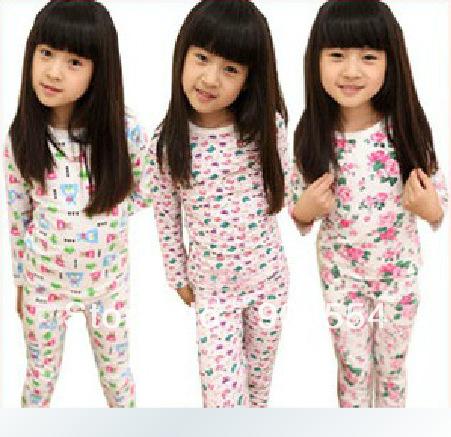 Free shipping 100% cotton underwear set child autumn underwear children's clothing female child autumn and winter(China (Mainland))