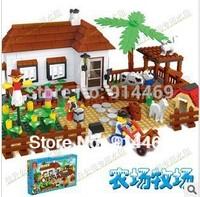 free shipping Christmas gift assembly happy farm pasture farm children  building  blocks   children educational toys bricks