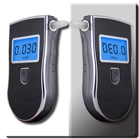 2pcs/lot + Free shipping!  Three digital police LCD Alcohol Tester with blue backlight & 5pcs Mouthpieces