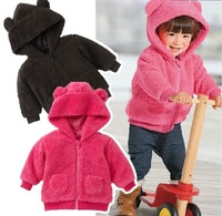 baby coral fleece coat boys girls thick warm hooded outwear children autumn winter clothing free shipping