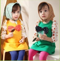 autumn girl's T-Shirt polka dot big bow  top skirt beauty design splicing style Fast Free Shipping Swiss Post
