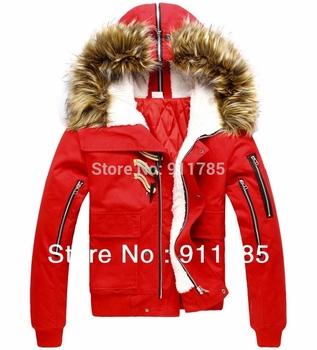 Новая зимняя кнопка хорн большие меха с капюшоном загущающие мужские пальто, тонкий слой jacketsfor мужчины, бесплатная доставка, m-xxl, красный, черный, M806
