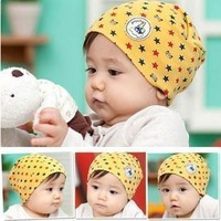 Free shipping Fashion baby cartoon five-pointed star spring & autumn 100% cotton print pocket children kids hat