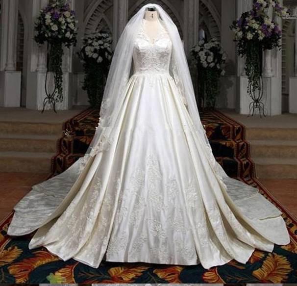 Wholesale a line vintage wedding dresses v neck with veil wedding
