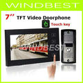 2012 New Arrival 7 TFT Touch Screen Color Video Doorphone Cmos Night Version Camera Intercom system 11 Door Bell Rings