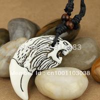 fine fashiong jewelry 20 pcs white lion head yak bone pendant necklace