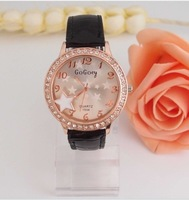 Christmas Gift  Holiday sale Black Leather Nice Star Crystal Watch Go0013  Min order=15usd