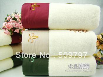 Quality embroidery 100% cotton plus size thick bath towel set lovers design towel