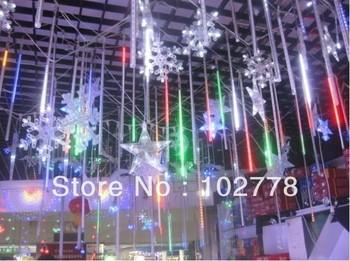 dhl 480pcs/set  Christmas Tree Decoration Colorful/ Blue/ White Color LED Meteor Shower Rain Tube Lights EU/US standard Outdoor