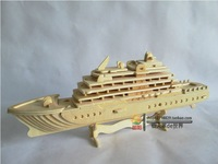 New fancy Intelligent educational toy 3D model ship WOODEN PUZZLE DIY WOODCRAFT CONSTRUCTION KIT handmade LUXURY YACHT G-P119