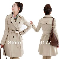New arrival winter slim medium-long outerwear trench coat for women Black khaki M L XL XXL XXXL free shipping CNDY10