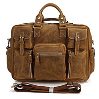 FREE SHIPPING Majestic demeanor fashion vintage handmade genuine leather large capacity handbags bag men 7028b
