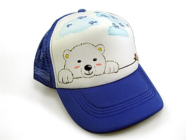 F flower ! casual blue wide brim hat truck cap lovely bear adjustable canvas mesh cap(China (Mainland))