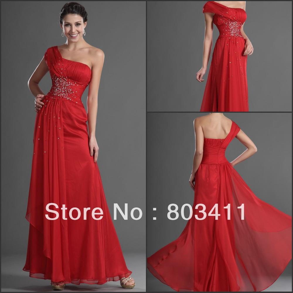 Free Shipping New Design Stylish Single Shoulder Beaded Red Evening Dress(China (Mainland))