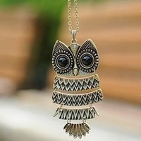 Fashion alloy retro bronze owl pendant necklaces Vintage lady sweater chain Free shipping Min order $10 Mix order+gift XL3067