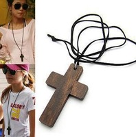 Shopping festival Fashion Leather cord wood cross necklace sweater chain Free shipping Min order 10USD Mix order +gift  XL3061