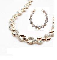 ожерелье серьги, моды 18k белого золота гальваническим австрийский Кристалл Ювелирные наборы ds4