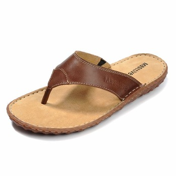 Summer sandals casual flip-flop male flip flops cowhide slippers male fashion
