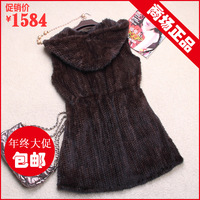Mink fur vest mink knitted leather coat mink vest long design women's