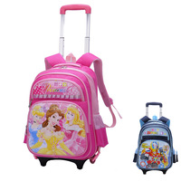 School  female child belt trolley school bag primary school students  slimming backpack schoolbags