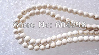 200PCS Free shipping Wholesale White Round Howlite Turquoise Gemstone Loose Spacer Beads Fit Charm Bracelets 8mm