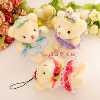 Free Shipping New arrival bear mobile phone chain mobile phone chain wedding bear  lanyards hangings 6