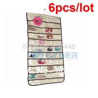 6Pcs/LotNew Beige Jewelry Hanging Storage Organizer Bag 80 Pocket Free Shipping