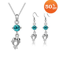 Ювелирный набор Christamas sale White Gold Plated Leaf Blue Crystal Jewelry Set Fashion Jewelry make with swarovski element
