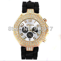 2012 New Fashion Ladies brand GENEVA Watch Classic Gel Crystal Silicone Jelly watch 10pcs/lot+ Free Shipping