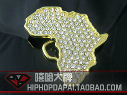 Gold map hiphop bling buckle strap belt buckle hiphop hip-hop(China (Mainland))
