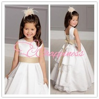 Free shipping Flower Girl Dresses Lace Floor Length Sleeveless Girl Dress