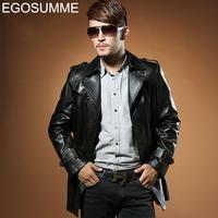 EMS free shipment 2013 genuine leather brand winter jacket men clothing mens leather motorcycle jacket xxxxl GLM020