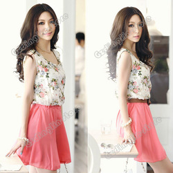 New Women's Crew Neck Sleeveless Flower Pattern Print Chiffon Summer Skirt Sundress Mini Dress Size S M L Free Shipping 0542(China (Mainland))