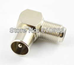 Free shipping (5 pieces/lot) Brass F female Jack to pal male right angle adapter TV plug connector nickelplated(China (Mainland))