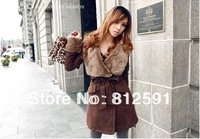 HK Free Shipping Fashion Silm Fur Collar Double Breasted Winter Long Coat for Women S M L